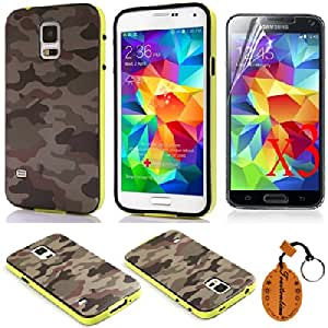 Traitonline 4IN1 #5 Soft TPU Assorted Back Cover for Samsung Galaxy S5 I9600 Cases Protective Skin Shell Pouch +3* Screen Protector