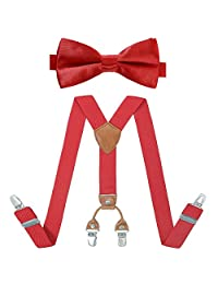 Kids Suspender Bow Tie Set - Adjustable Elastic Classic Accessory Sets for Boys & Girls (Red)
