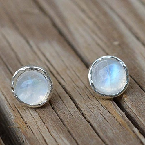 Rainbow moonstone stud earrings 925 Sterling silver Posts-Small 6mm