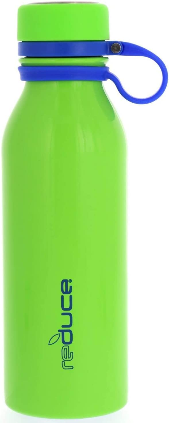 reduce Stainless Steel Vacuum Insulated Hydro Pro Bottle w/Nonslip Rubber Base & Tethered Carrying Loop – BPA Free, Sweat Proof, Great for Children, Travel, Lunchboxes- Lime, 18oz