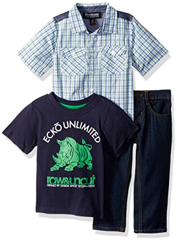 (Ecko Boys' Little Woven Sport, T-Shirt, and Jean Set, Multi Plaid 5)
