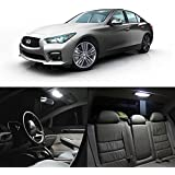 Partsam 2014 2015 Infiniti Q50 White Interior LED Package Kit + Tag Lights (10 Pieces)