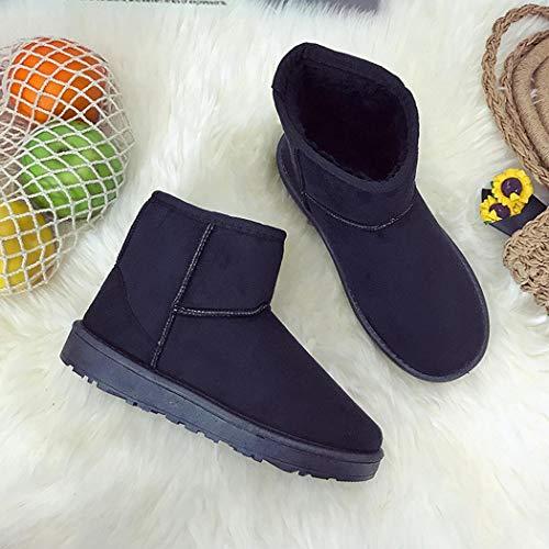 Glissement Casual Des Bottes Boots Femme De Plates Et Neige Mode Hiver Hauteur Noir Sur Cheville Coorun Solides tw0Hqx