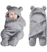 XMWEALTHY Cute Baby Items Newborn Plush Nursery Swaddle Blankets Soft Infant Girls Clothes Grey