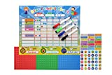 """kids star chore chart - Magnetic Star Reward Chore Chart for Toddlers and Kids, with Reusable Chore Magnets and 4 Dry Erase Markers (16.5"""" x 12.7"""")"""
