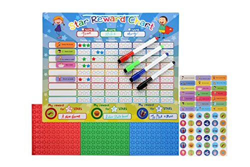 "Magnetic Star Reward Chore Chart for Toddlers and Kids, with Reusable Chore Magnets and 4 Dry Erase Markers (16.5"" x 12.7"")"