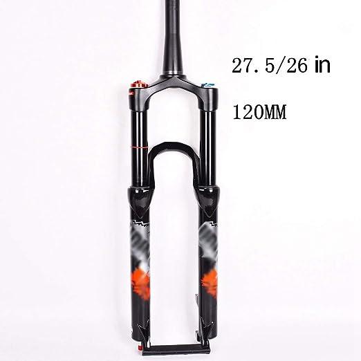 NBMN 26/27.5 Pulgadas Horquilla Suspensión Bicicleta Montaña Freno Disco Bloqueo Alambre Ajuste Horquilla Delantera Itinerario: 120mm Cono Recto Aleación Aluminio ...