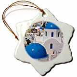 3dRose orn_137341_1 Oia on The Island of Santorini, Greece-Eu12 Dny0009-David Noyes-Snowflake Ornament, 3-Inch, Porcelain