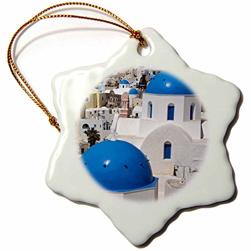 3dRose orn_137341_1 Oia on The Island of Santorini, Greece-Eu12 Dny0009-David Noyes-Snowflake Ornament, 3-Inch, Porcelain by 3dRose
