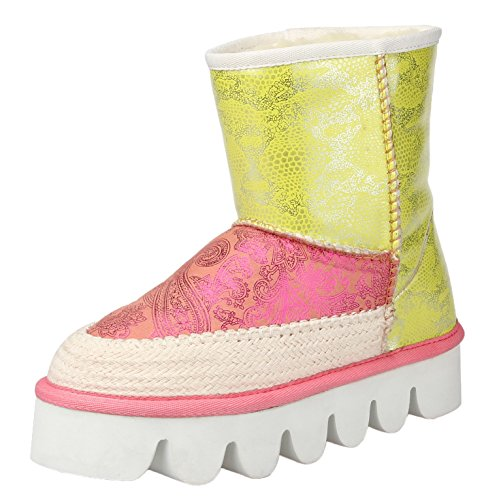 HooH Women's Winter Warm Snow Boots Contrast Color Women Boots Pink