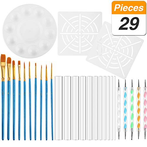 (SATINIOR Set of 29 Mandala Dotting Tools for Rock Painting, Including Acrylic Rods, Double Tips Ball Stylus Pens, Paint Tray, Stencils and Paint Brushes)