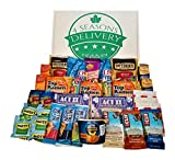 College Snack Gift Package, Military Care Package, Birthday and Holiday Food Gift Box, 4 SEASONS DELIVERY, 32 Count