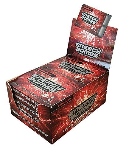 Premium Energy Gum. Energy Bombs Energy & Vitamins Chewing Gum 12 Packs of 10 Pieces,Cinnamon Flavor