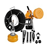 Mophorn 3/4'' - 5'' Sectional Pipe Drain Cleaning Machine 400 RPM 400W Snake Cleaner Pipe Drain Cleaning Machine Clears Clogs up to 99 ft (400W)