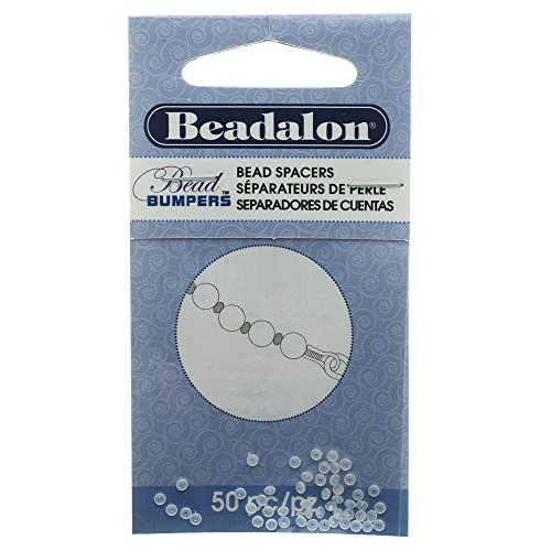 Beadalon Bead Bumpers, Oval Silicone Spacers 2mm, 50 Pieces, Clear - Spacer Oval