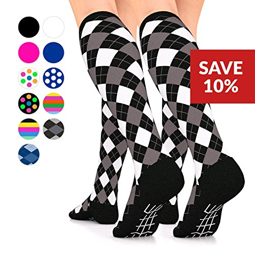 Go2 Elite Compression Socks for Women Men 16-22mmHg Compression Stockings for Nurses Running Medical Graduated Compression Socks for Travel Man Woman Athletic Nursing (Black White Argyle Two Pair, XL)