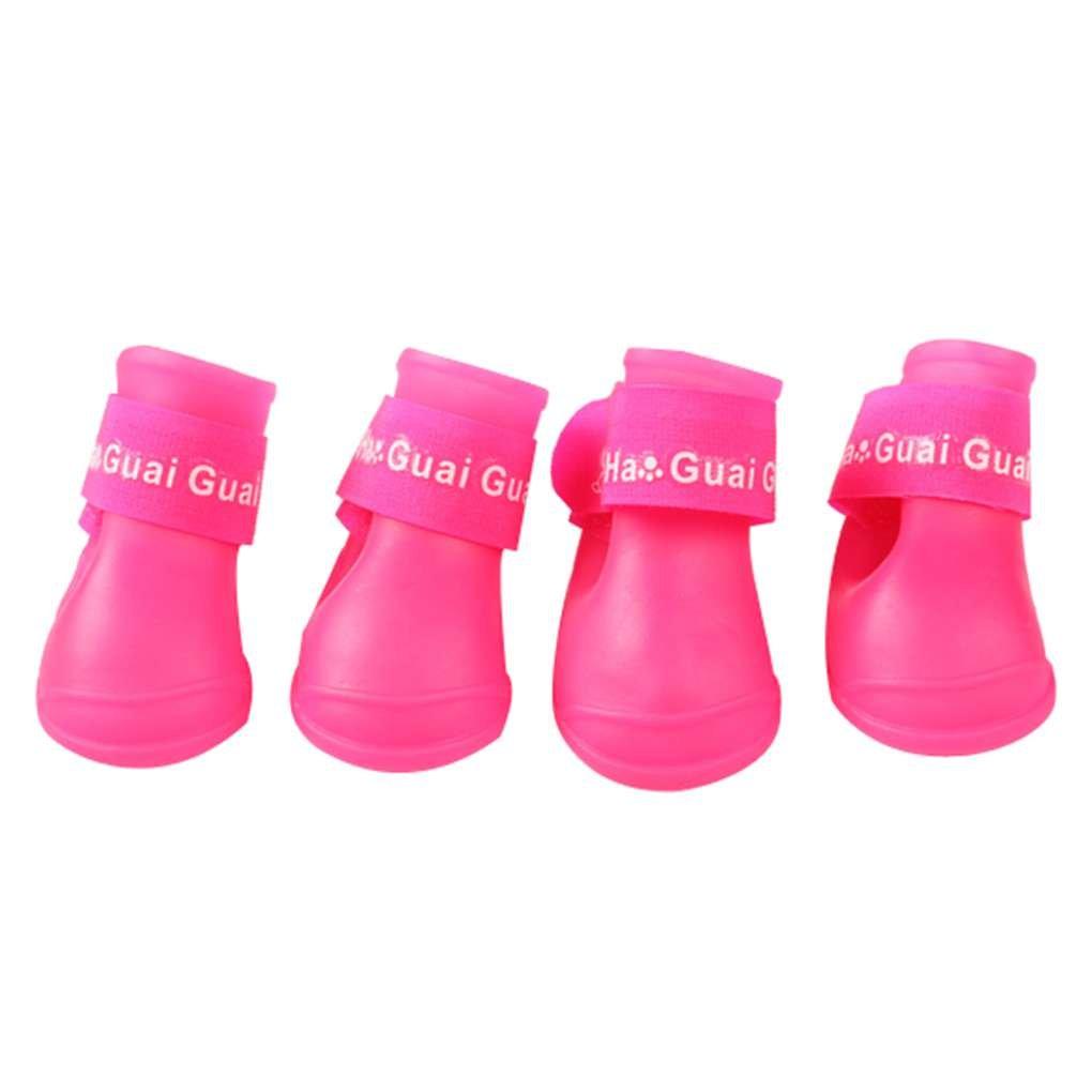 MuLuo 4PCS/Set Dog Puppy Shoes PU Waterproof Pet Rain Boots Anti-Slip Skidproof Elastic Protective Pet Shoes