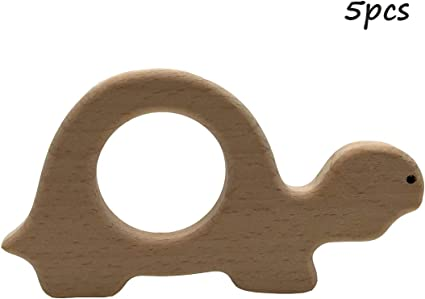 Beech Wooden Shape wood Teether teething ring Letter organic soother toys