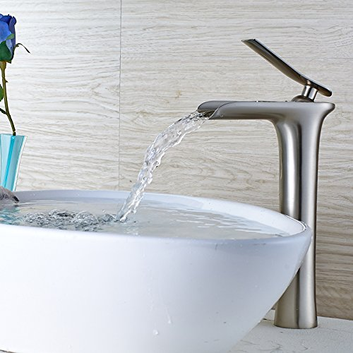Brushed High Lpophy Bathroom Sink Mixer Taps Faucet Bath Waterfall Cold and Hot Water Tap for Washroom Bathroom and Kitchen Cold Water Full Brass Chrome-colord High