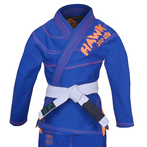 HAWK Jiu Jitsu Hawk Kids Brazilian Jiu Jitsu Suit Youth Children BJJ GI Kimonos Boys & Girls BJJ Uniform Lightweight Preshrunk Pearl Weave Fabric, with Free White Belt, 1 Year Warranty!!! (K0, Blue)