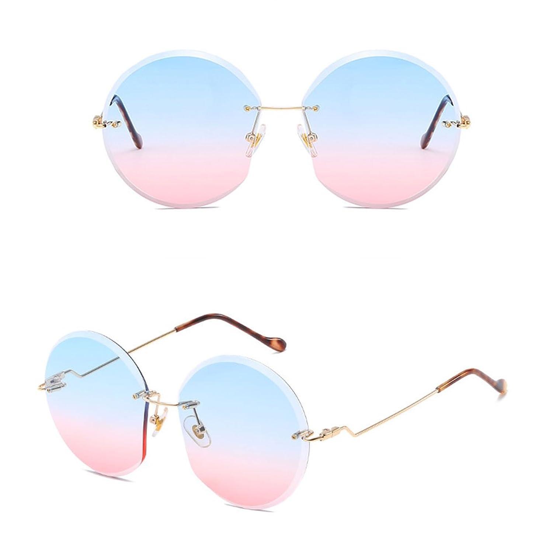 Zhhlaixing Candy Color Ocean Chip Round Sunglasses lunettes de Soleil Designer Ladies Femme Metal Lunettes de Vue with Storage Case SqlEq