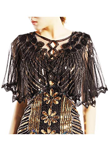 (KNIGHTLY LESS Women's 1920s Shawl Wraps Sequins Beaded Evening Cape (Black))