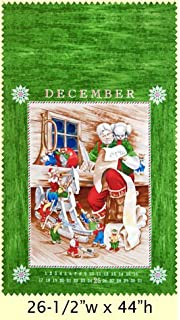 Holiday Cheer Christmas Panel Cotton Quilting Fabric 60cm x 110cm 6 Panels