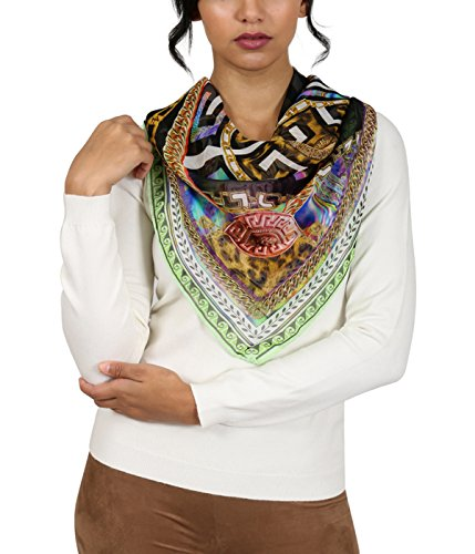 Versace Green Pschydelic Greca Print Silk Foulard (Cashmere Silk Knit Tie)