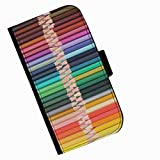 Hairyworm - Rows of coloured pencils Acer Liquid Z220 leather side flip wallet cell phone case, cover with card slots, money slot and magnetic clasp to close.