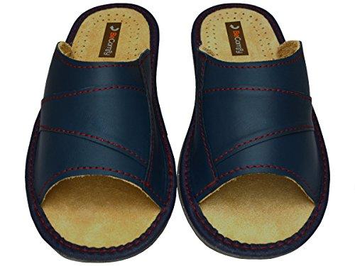 BeComfy - Zapatillas de estar por casa de Piel para hombre Azul