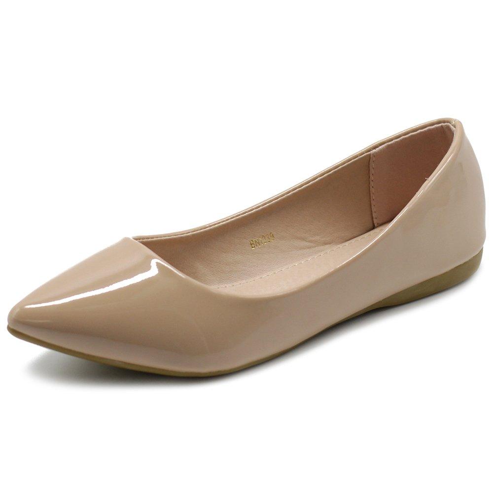 Ollio Women's Shoe Ballet Basic Pointed Toe Comfort Enamel Flat M1039(10 B(M) US, Blush)