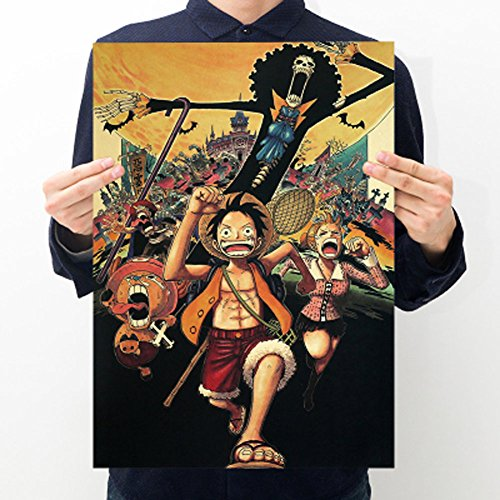 Fangeplus(R)One Piece Monkey D. Luffy Japanese Classic Cartoon Animation Poster Antique Vintage Old Style Decorative Poster Print Wall Coffee Shop Bar Decor Decals 20.0