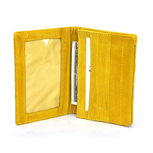 Eel Skin Business Card - Genuine Eel skin Leather Business Credit Name Card Money Holder Case Wallet (Yellow)