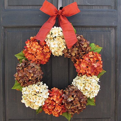 Orange Rust, Cream and Brown Hydrangea Wreath for Thanksgiving Fall Front Door Decor