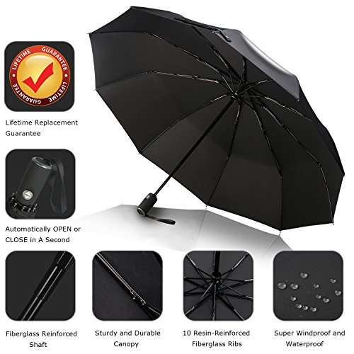 0e3f52af1c60 Anntrue Travel Umbrella Windproof, Auto Open Close Compact Umbrellas for  Women and Men Teflon Coating with 10 Rib Construction, Zipper Pouch (Black)