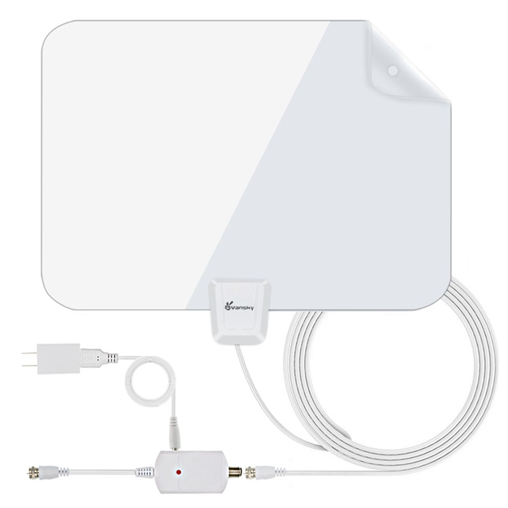 HD TV Antenna - Upgraded Amplified Digital HDTV Antenna 50-80 Mile Range Local Broadcast 4K HD VHF UHF Signal TV Channels for Television with Detachable Amplifier and 16.5feet Coax Cable