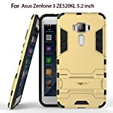 Heartly Asus Zenfone 3 ZE520KL 5.2' Back Cover Graphic Kickstand Hard Dual Rugged Armor Hybrid Bumper Case - Mobile Gold