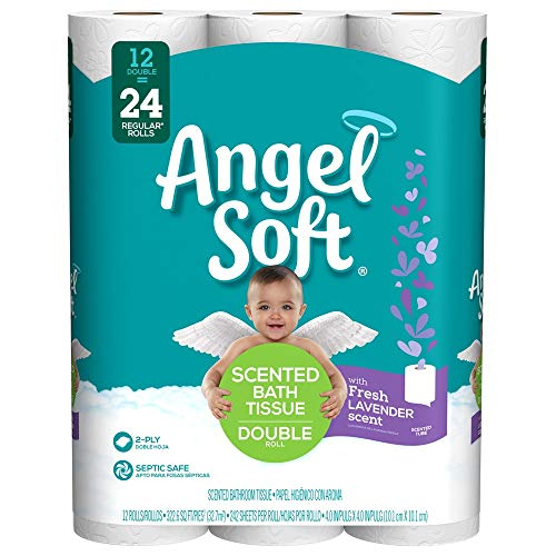 Scented Toilet - Angel Soft Toilet Paper, Lavender Scent, 12 Double Rolls, 12 = 24 Regular Rolls