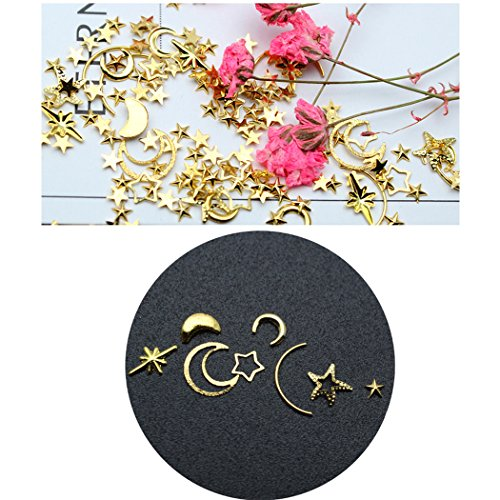 Kapmore Nail Art Stud Nail Sequins DIY Assorted Hollow Moon Star Manicure Glitter Alloy Nail Art Decoration
