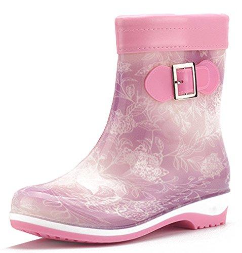 Idifu Dames Antislip Ademend Lage Hakken Korte Laarzen Regenlaarzen Enkel Hoge Rubberen Schoenen Paars
