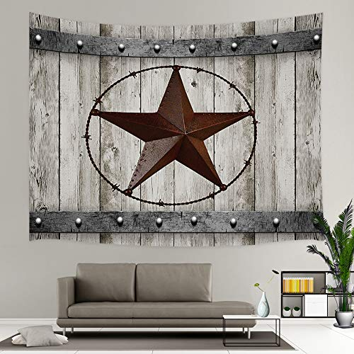 - JAWO Rustic Wood Door with Southwestern Texas Star Tapestry Garage Barn Wall Blanket Farmhouse Wall Hanging Tapestry (80x60 inches, Tapestry)