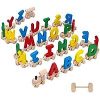 28-Pcs. XREXS Wooden Alphabet Train (Multi Colors)