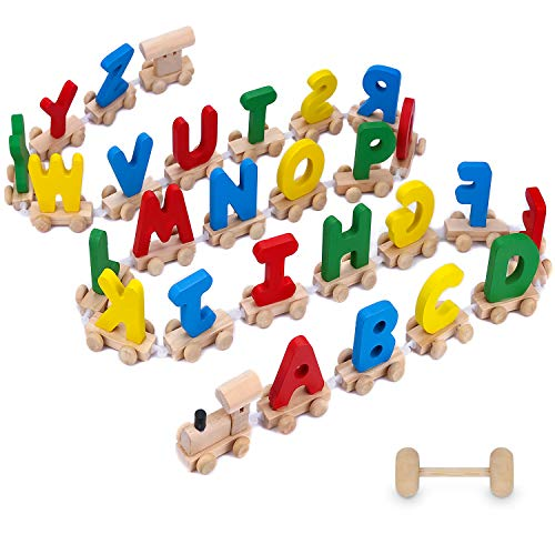 XREXS 28pcs Letter Train Wooden Alphabet Railway, Letter Alphabet Train,ABC Train Floor Puzzles,Wood Letter Train Set for Preschool Kids Toddler Educational Toy
