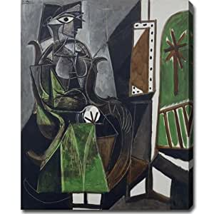"""Pablo Picasso 'Woman by the Window' Oil on Canvas Art 24"""" X 30"""" X 1.5"""""""