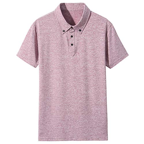 - LOCALMODE Men's Casual Performance Dry-Fit Short Sleeve Polo Golf Tee Shirt Moisture Wicking and 4 Way Stretch Red