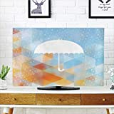 iPrint LCD TV dust Cover Strong Durability,Farmhouse Decor,Umbrella Figure on compatibleeground with Fractal Geometric Diagonal Computer Collage,Multi,Picture Print Design Compatible 37'' TV