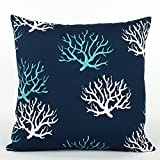 Chloe & Olive Wonders of The Seas Navy Outdoor Collection Pillow Cover, 18-Inch