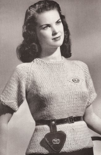 (Vintage Knitting PATTERN to make - Knitted Short Sleeve Raglan Sweater Top with Motif. NOT a finished item. This is a pattern and/or instructions to make the item only. )
