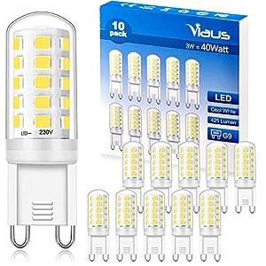 G9 LED Bulbs Cool White, 3W Equivalent to 40W, LED G9 Light Bulb 6000K, CRI>85, 425LM, AC 220V – 240V, Non-dimmable, No…