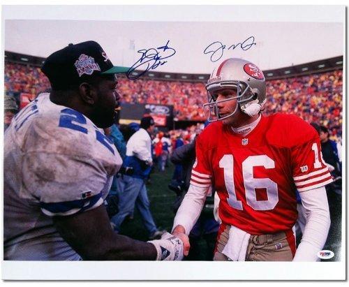 Joe Montana & Emmitt Smith Signed Autographed 16x20 Photo PSA/DNA (Emmitt Smith Hand Signed)